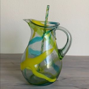 Beautiful Anthropologie glass pitcher and swizzle
